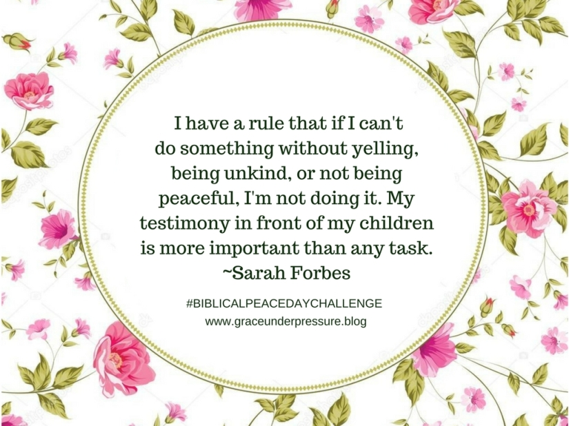 I have a rule that if I can't do it without yelling, being unkind or not being peaceful, I'm not doing it. My testimony in front of my children is more important than the task.
